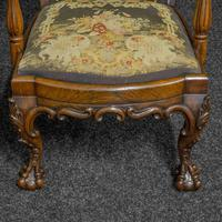 Victorian Carved Rosewood Armchair with Tapestry Upholstery (8 of 13)