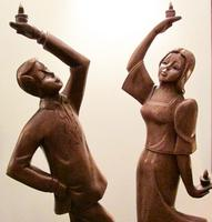 Pair of Large Hand Carved 1950's Asian Dancing Figures (2 of 5)