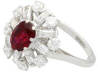2.02ct Ruby & 1.60ct Diamond, Platinum Cluster Ring - Vintage c.1960 (4 of 12)