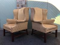 Pair of Antique English Upholstered Wing Armchairs for Recovering