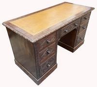Good Quality Victorian Oak Pedestal Desk (3 of 7)