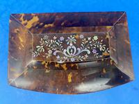 Victorian Tortoiseshell Tea Caddy with Mother of Pearl Inlay (6 of 20)