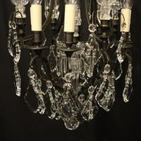French Bronze & Crystal 8 Light Cage Chandelier (3 of 10)