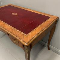 French Red Leather Top Bureau Plat (3 of 9)