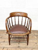 Antique Desk Chair with Leather Seat (3 of 10)