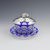 Early Victorian Blue & White Overlay Glass Butter Dish Silver Cow Cover (4 of 15)