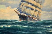 Antique Nautical Oil Painting (4 of 10)