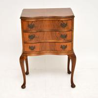 Antique Figured Walnut Side Table with 3 Drawers (2 of 7)