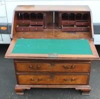 1850's Small Oak Bureaux with Crossbanding around Drawers (2 of 6)