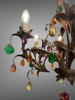 Murano Glass a Fruit Venetian 6 Arm Toleware Ceiling Light Chandelier (6 of 9)