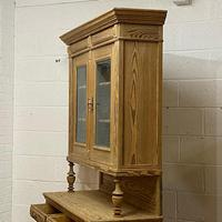 Very Tall Antique Pine Partly Glazed Dresser (7 of 8)
