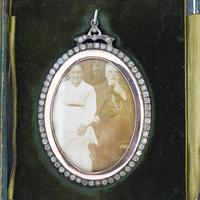 Antique Edwardian Paste Large Silver and Rose Gold Oval Locket Pendant in Box / Boxed (3 of 10)