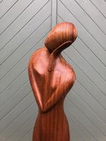 Unusual Carved Wooden Sculpture Faceless Lady (6 of 7)