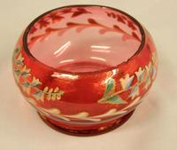Late Victorian Cranberry Glass Decorated Salt (3 of 3)