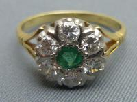 18ct gold, emerald & diamond cluster ring (2 of 4)