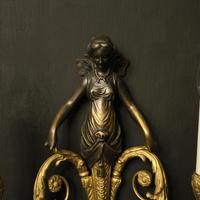 French Pair of Gilded Bronze Twin Arm Antique Wall Sconces (3 of 10)