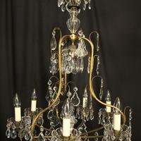 French Gilded & Crystal Birdcage 7 Light Antique Chandelier (5 of 10)