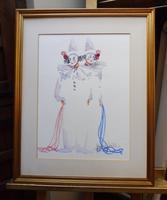Watercolour Two Clowns Listed Irish Artist Judith Caulfield Walsh (5 of 10)