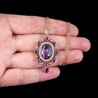 Antique Victorian Amethyst Pearl Pendant Necklace 9ct Gold 12ct Amethyst c.1900 (7 of 8)
