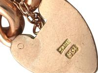 9ct Yellow Gold Bracelet with Heart Padlock Clasp - Antique c.1900 (6 of 9)