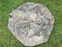 Large Victorian Style Architectural Stone 2 Rearing Horses Bank Logo Plaque Sign (6 of 25)