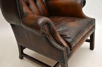Antique Leather & Mahogany  Wing Back Armchair (7 of 9)
