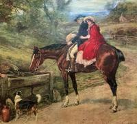 19thC English School - Horse & Hound Country landscape Oil Painting (11 of 11)