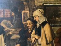 Substantial 19th Century Flemish Oil Painting of Locals in Brugge by Dumont (10 of 21)
