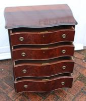 1900's Quality Mahogany Serpentine Chest Drawers + Flame Veneer on Bracket feet (2 of 4)