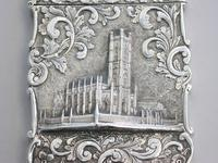 Victorian Silver Castle-top Card Case - St Luke's Church, Liverpool by Nathaniel Mills, Birmingham, 1845 (3 of 12)