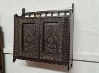 Arts & Crafts Tramp Art Antique Gothic Wall Cabinet (3 of 4)