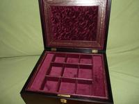 Large Inlaid Rosewood Jewellery Box + Tray c.1870