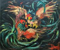 Stunning Original 1970s Vintage Abstract  Acrylic Painting Cocks Fighting - Game (2 of 15)