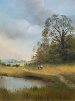 Lovely 'Chocolate Box Quality' Vintage 20thc English Landscape Oil Painting (13 of 15)
