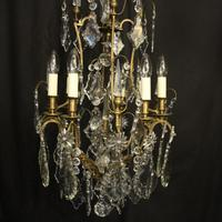 French Gilded 8 Light Antique Chandelier (2 of 5)