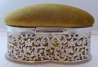 Large Victorian 1899 Hallmarked Silver Jewellery Box Pin Cushion Ring Earring (8 of 13)