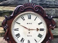 Antique Mahogany Fusee Railway Station Dial Clock (5 of 10)