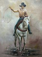 Fine Art American 20th Century Oil Canvas Painting Rodeo Cowboy Riding Horseback (10 of 14)