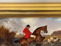 """Victorian Sporting Oil Painting """"Taking A Fence"""" Horse  & Rider With Scent Foxhounds Hunting By John Alfred Wheeler (11 of 59)"""