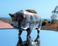 Rare Beautiful Victorian White Metal Novelty Pig Pen Wipe c.1900 (2 of 12)