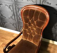 Victorian Mahogany Scroll Arm Nursing Chair (4 of 9)