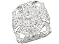 8.13ct Diamond & Platinum Brooch - Art Deco c.1935 (4 of 9)