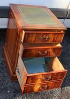 1960's Yew Wood Filing Cabinet with Green Leather Top (3 of 4)