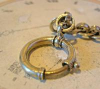 Antique Pocket Watch Chain 1920s Large Chrome Fancy Link Albert with Big Bolt Ring (9 of 12)