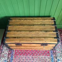 Antique French Steamer Trunk Coffee Table Old Rustic Chest and Key + Original Interior (8 of 12)