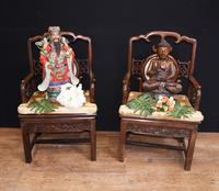 Pair Antique Chinese Armchairs Hardwood 19th Century Seat Chair (4 of 13)