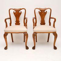 Pair of Antique Walnut Queen Anne Style Carver Armchairs (2 of 10)