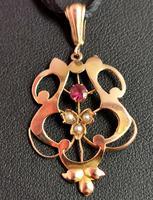 Antique Art Nouveau Lavalier Pendant, Ruby & Pearl, 9ct Gold (10 of 10)