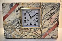French Art Deco Marble Striking Mantel Clock 1930