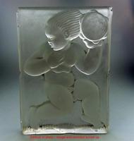 Art Deco Glass Cherub Panel Signed AH c.1920-1930s (2 of 7)